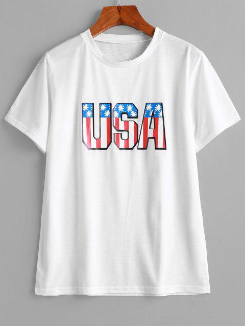 buy USA Graphic T-shirt - WHITE M Mobile