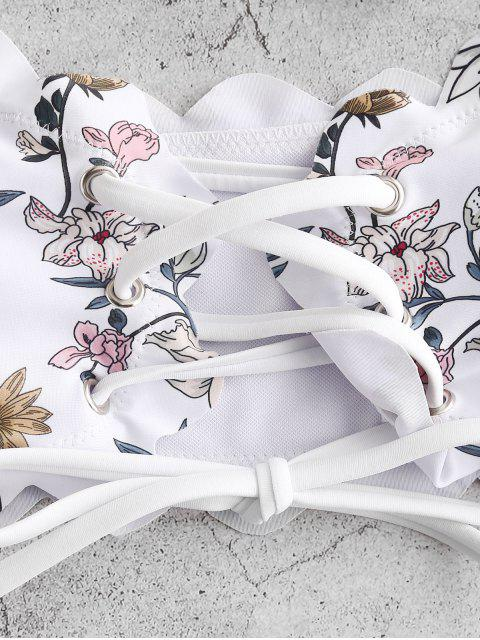 ZAFUL Maillot de Bain Bikini Fleuri Bandeau Festonné à Lacets - Blanc S Mobile