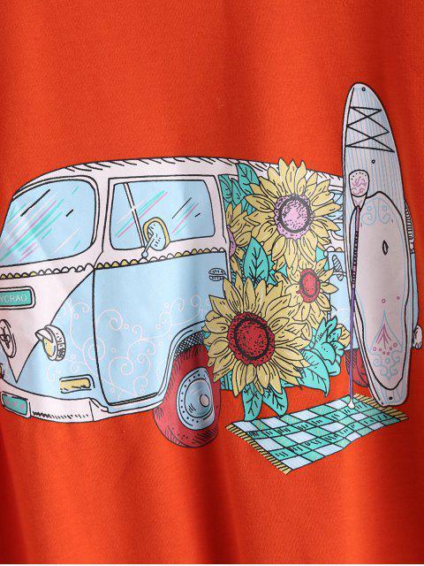Sudadera suelta estampada ZAFUL Car Sunflower - Naranja de Calabaza  S Mobile
