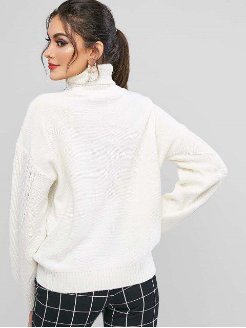 best ZAFUL Turtleneck Drop Shoulder Jumper Sweater - WHITE M Mobile