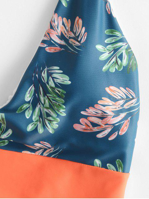 best ZAFUL Neon Colorblock Leaf Print High Cut Backless Swimsuit - MULTI-A XL Mobile