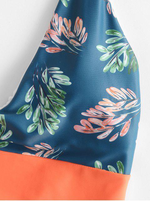 Bañador sin espalda de corte alto con estampado de hojas en color neón de ZAFUL - Multicolor-A XL Mobile