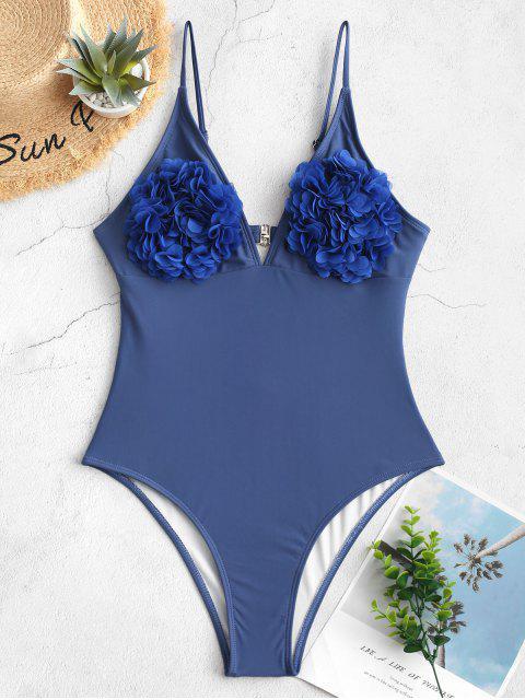 Traje de baño de una pieza de bralette de corte alto sin espalda de pétalos ZAFUL - Azul L Mobile