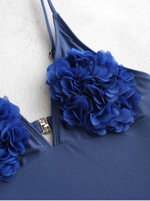 Traje de baño de una pieza de bralette de corte alto sin espalda de pétalos ZAFUL - Azul M Mobile