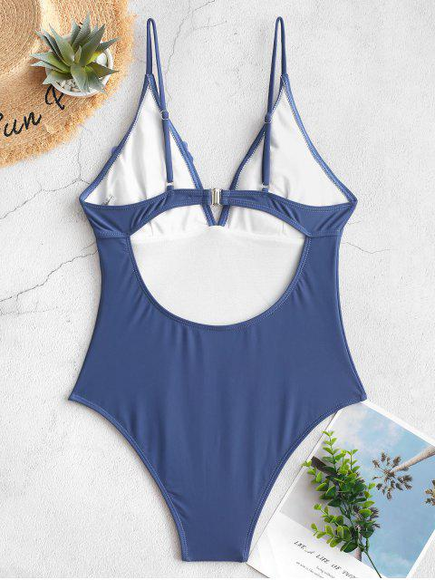 chic ZAFUL Petal Backless High Cut Bralette One-piece Swimsuit - BLUE M Mobile