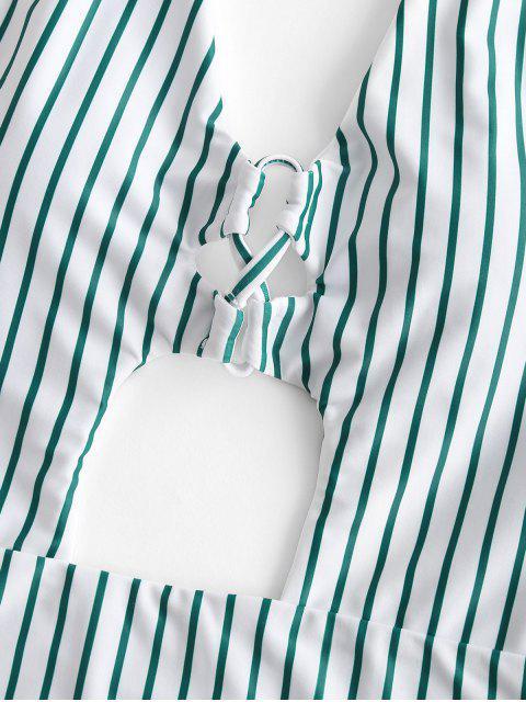 ZAFUL Полосатый принт На шнуровке С вырезом Открытая спина Высокий вырез Купальник - Морской зеленый L Mobile