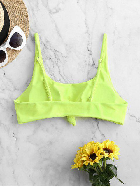 buy ZAFUL Knotted Scoop Neck Pullover Bikini Top - GREEN YELLOW M Mobile