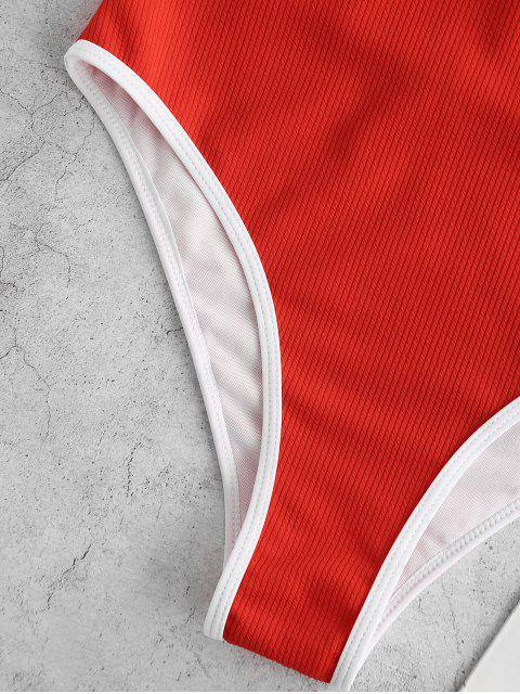 Bañador de una pieza de corte alto con cremallera ribeteada ZAFUL - Rojo M Mobile