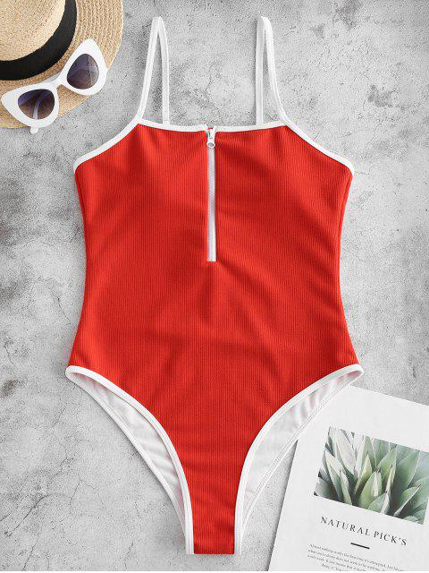 women ZAFUL Ribbed Piping Zip High Cut One-piece Swimsuit - RED S Mobile