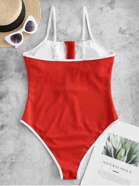 Bañador de una pieza de corte alto con cremallera ribeteada ZAFUL - Rojo L Mobile