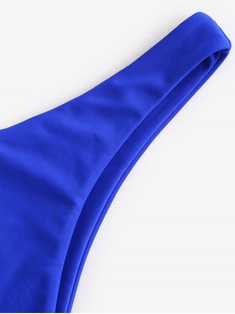outfit ZAFUL Solid High Leg Bikini Bottom - COBALT BLUE S Mobile