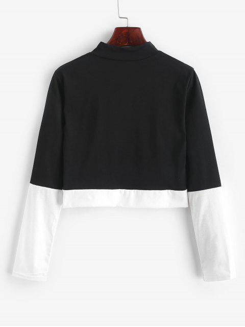 hot Two Tone Mock Neck Cropped Tee - BLACK M Mobile