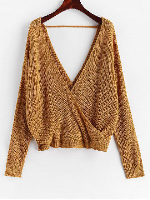 women Surplice Plunging Backless Cutout Sweater - CARAMEL M Mobile