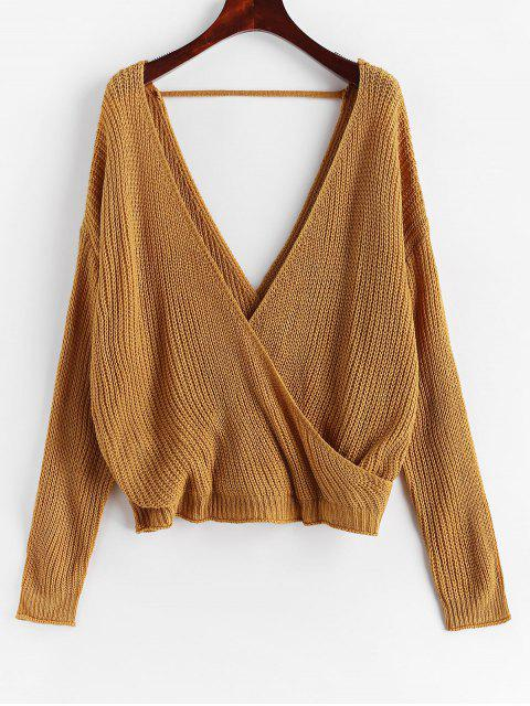 shop Surplice Plunging Backless Cutout Sweater - CARAMEL XL Mobile