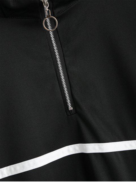 new Half Zip Drop Shoulder Contrast Tape Sweatshirt - BLACK L Mobile