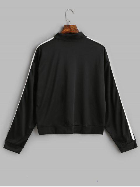 Media cremallera gota camiseta de la cinta de contraste de hombro - Negro XL Mobile