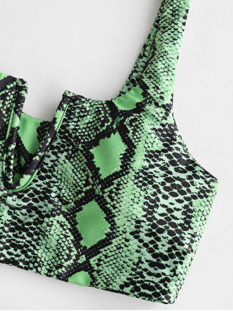 cable-V ZAFUL impresión de la serpiente de Tankini del traje de baño - Verde de Helecho L Mobile