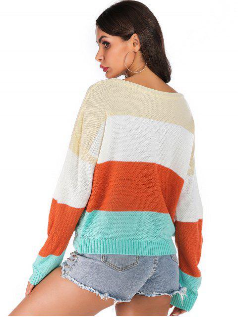 sale ZAFUL Color Block Ribbed Trim Pullover Sweater - MULTI XL Mobile