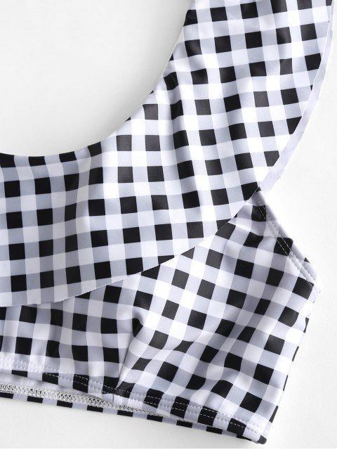 ZAFUL tela escocesa del volante de un hombro traje de baño de Tankini High Cut - Negro M Mobile