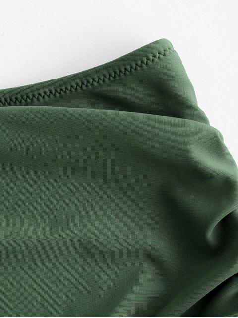 ZAFUL  Bikinihose mit Hoher Taille und Rüschen - Tarnanstrich Grün S Mobile