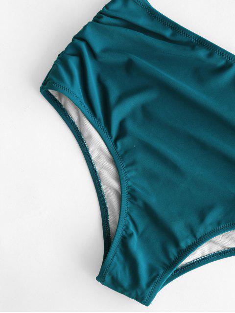 ZAFUL  Bikinihose mit Hoher Taille und Rüschen - Blaugrün L Mobile