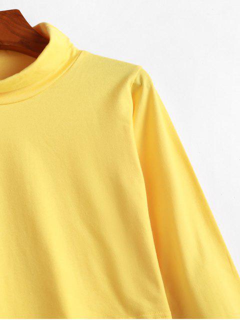 womens Plain Turtleneck Cropped Tee - YELLOW XL Mobile