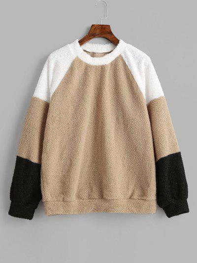 Sweat-shirt En Blocs De Couleurs à Manches Raglan - Bronze S