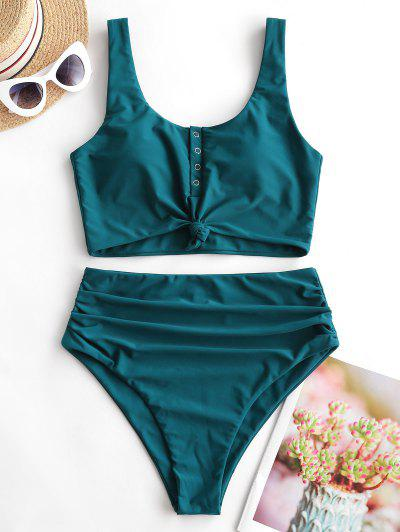 ZAFUL Snap Button Knotted Tummy Control Tankini Swimsuit - Peacock Blue L