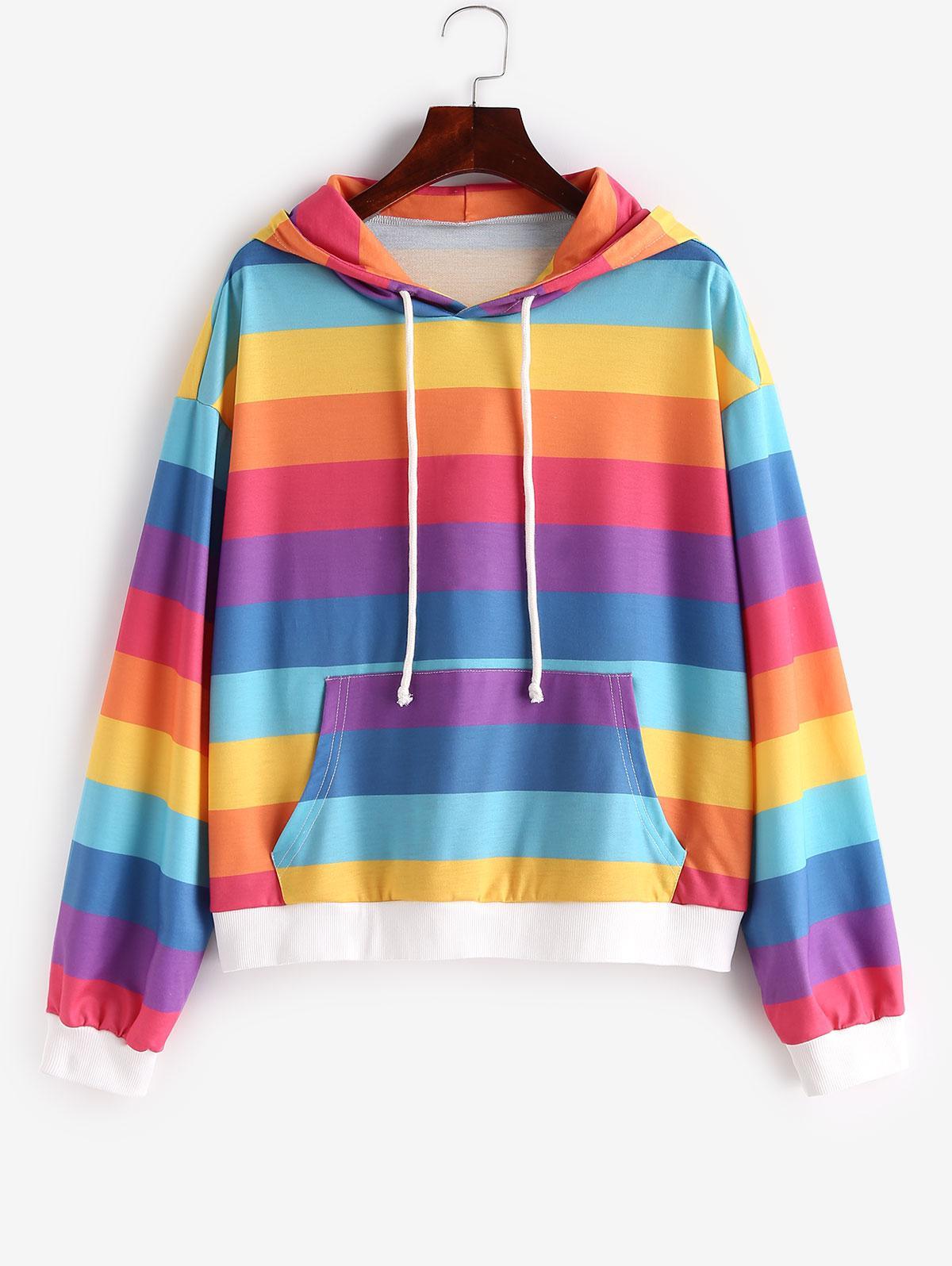 ZAFUL Front Pocket Drawstring Rainbow Stripes Hoodie thumbnail