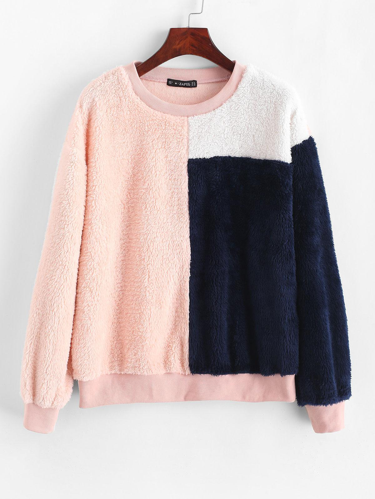 ZAFUL Color Block Ribbed Hem Fluffy Sweatshirt