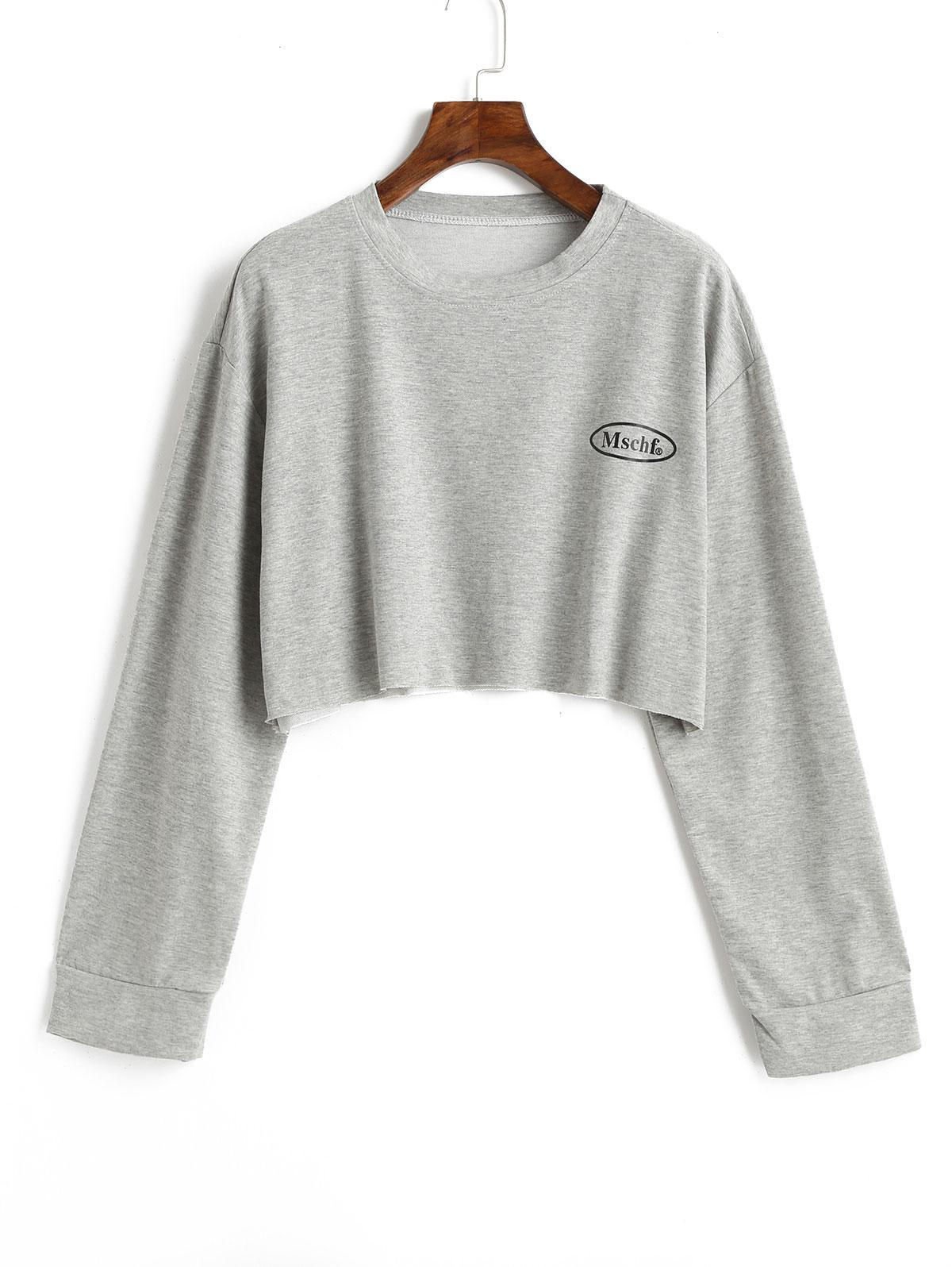Letter Print Drop Shoulder Cropped Sweatshirt, Light gray