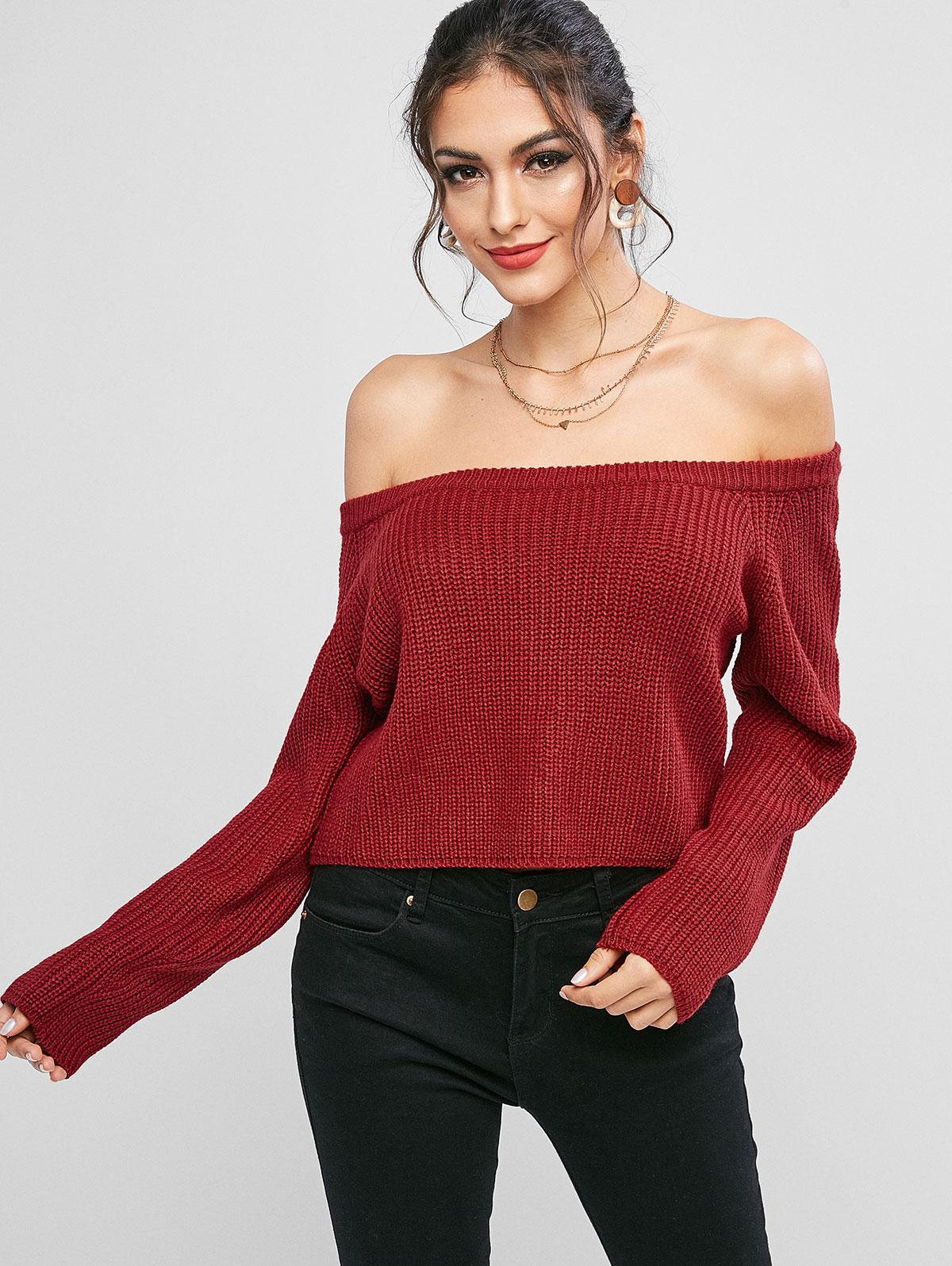 ZAFUL Solid Pullover Off Shoulder Sweater thumbnail