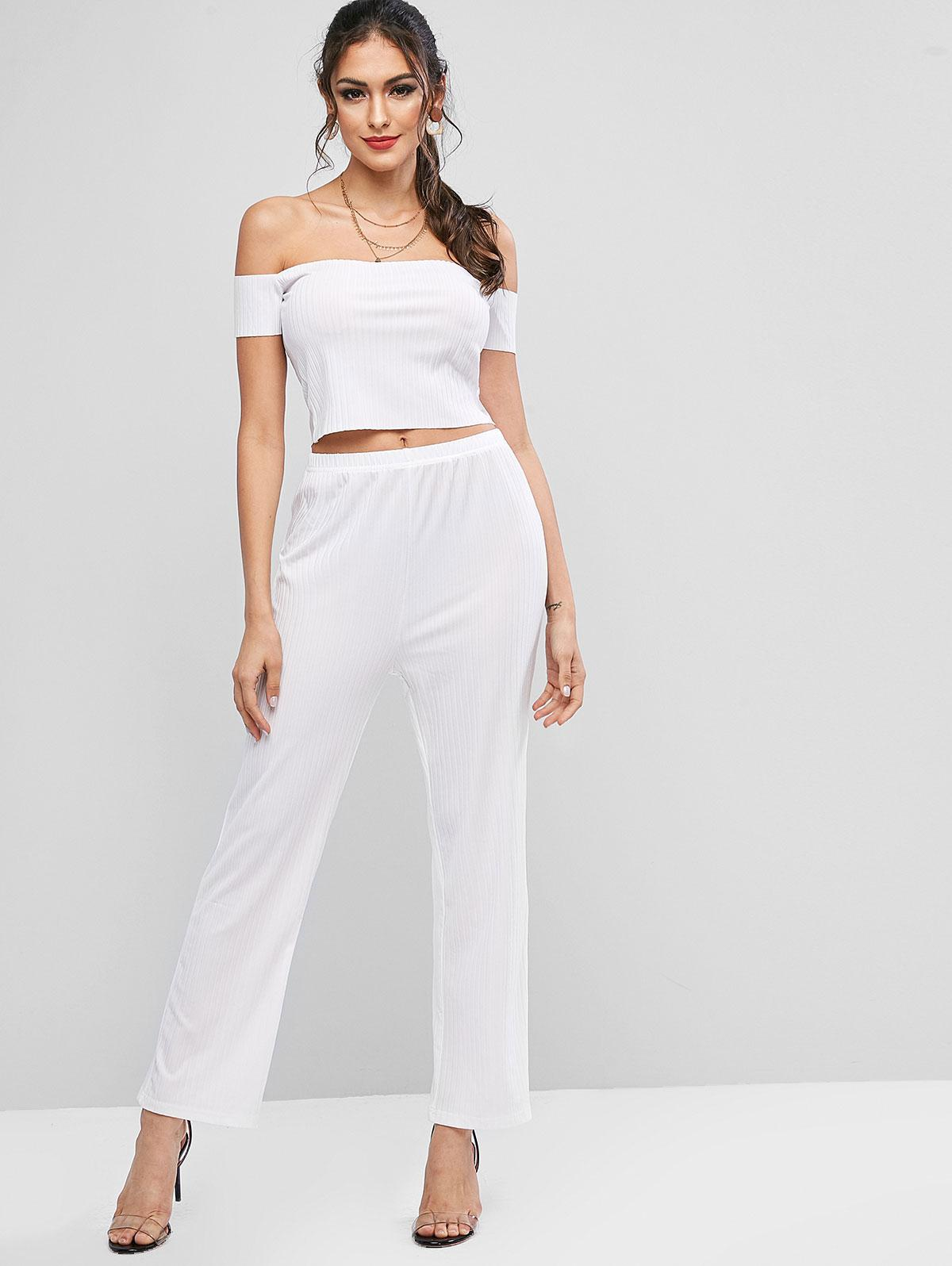 Front Button Cami Cropped Top And High Waist Pants, White