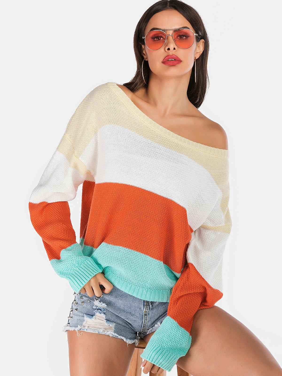 ZAFUL Color Block Ribbed Trim Pullover Sweater