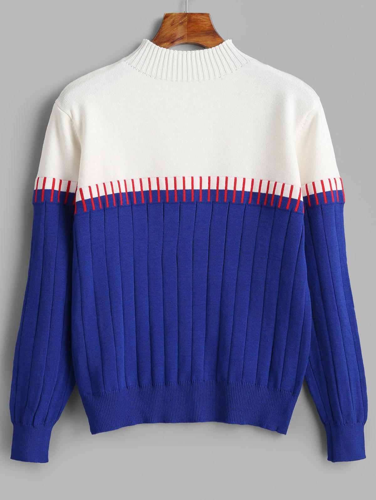 Two Tone Mock Neck Knitted Sweater