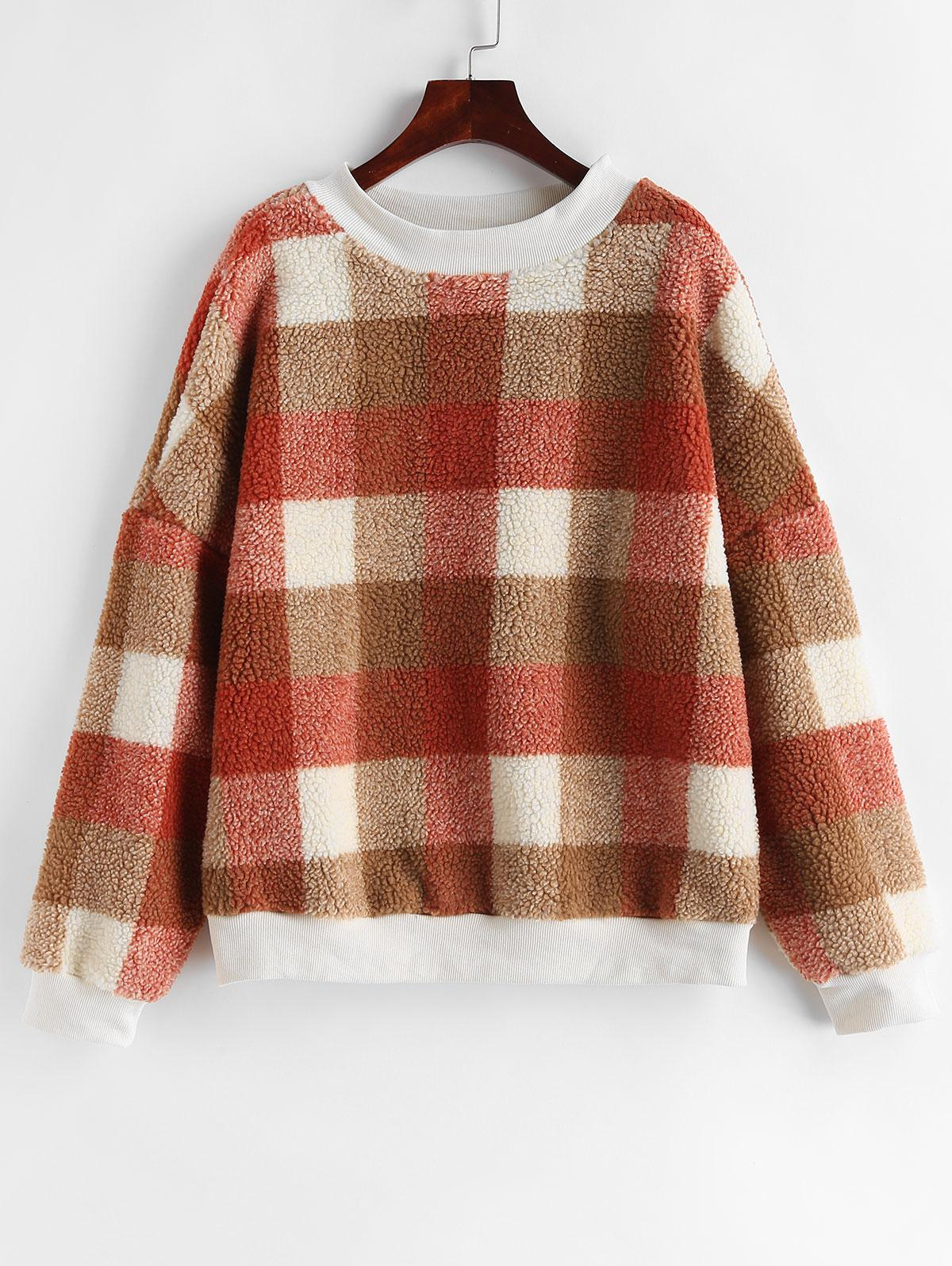 Contrast Plaid Loose Faux Fur Sweatshirt