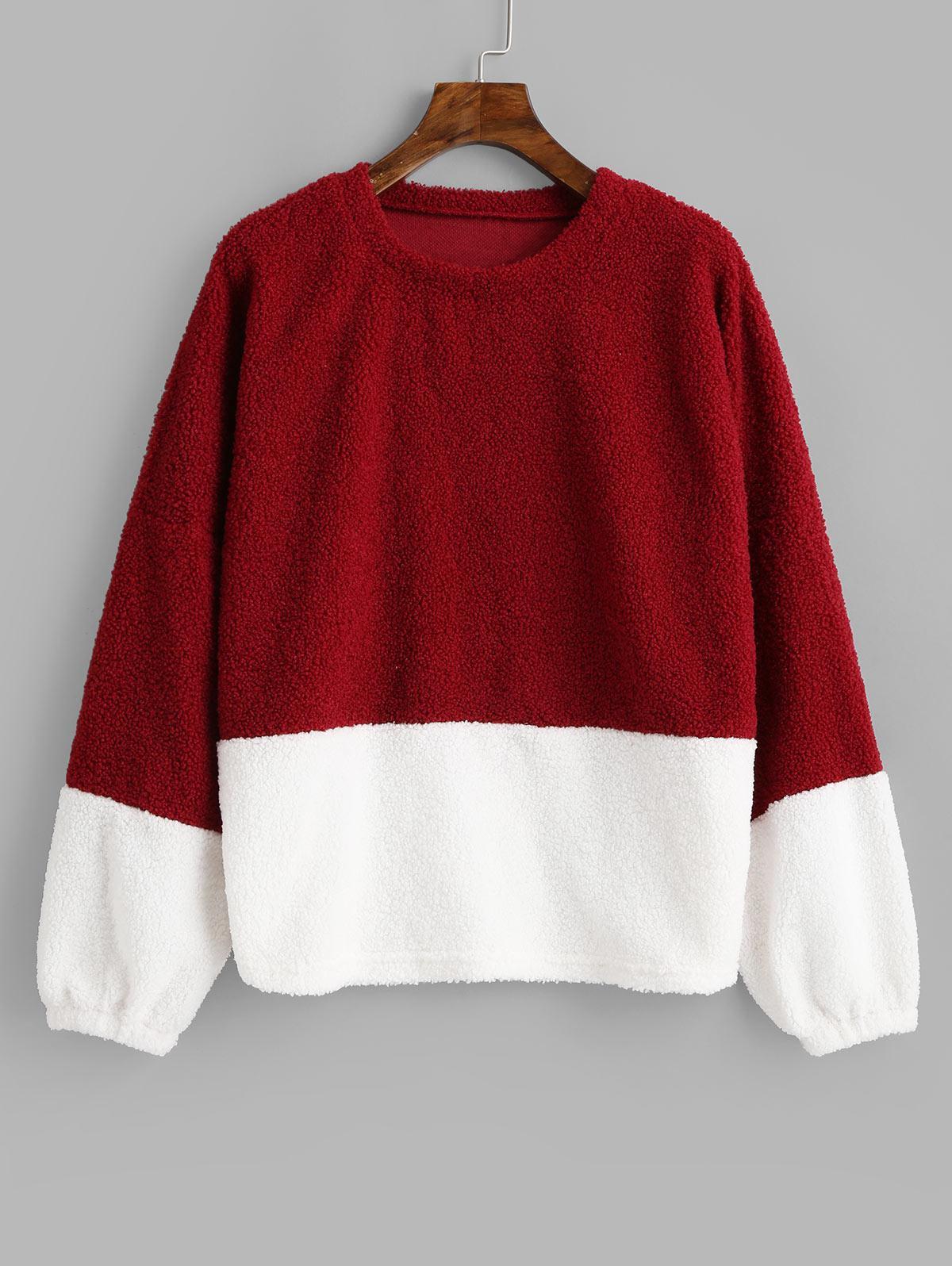 Two Tone Pullover Teddy Sweatshirt thumbnail