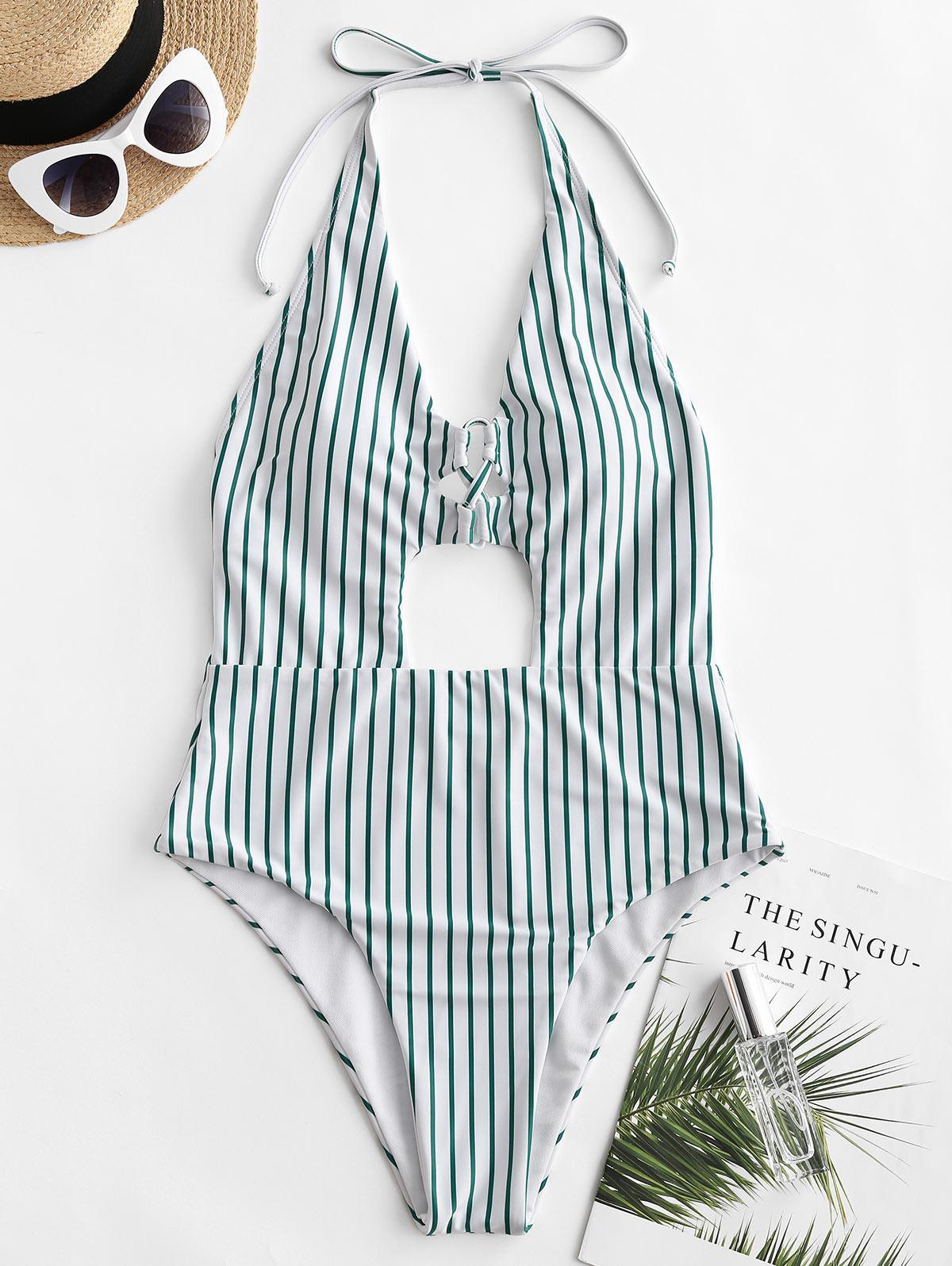 ZAFUL Striped Lace Up Cutout High Cut Backless Swimsuit thumbnail