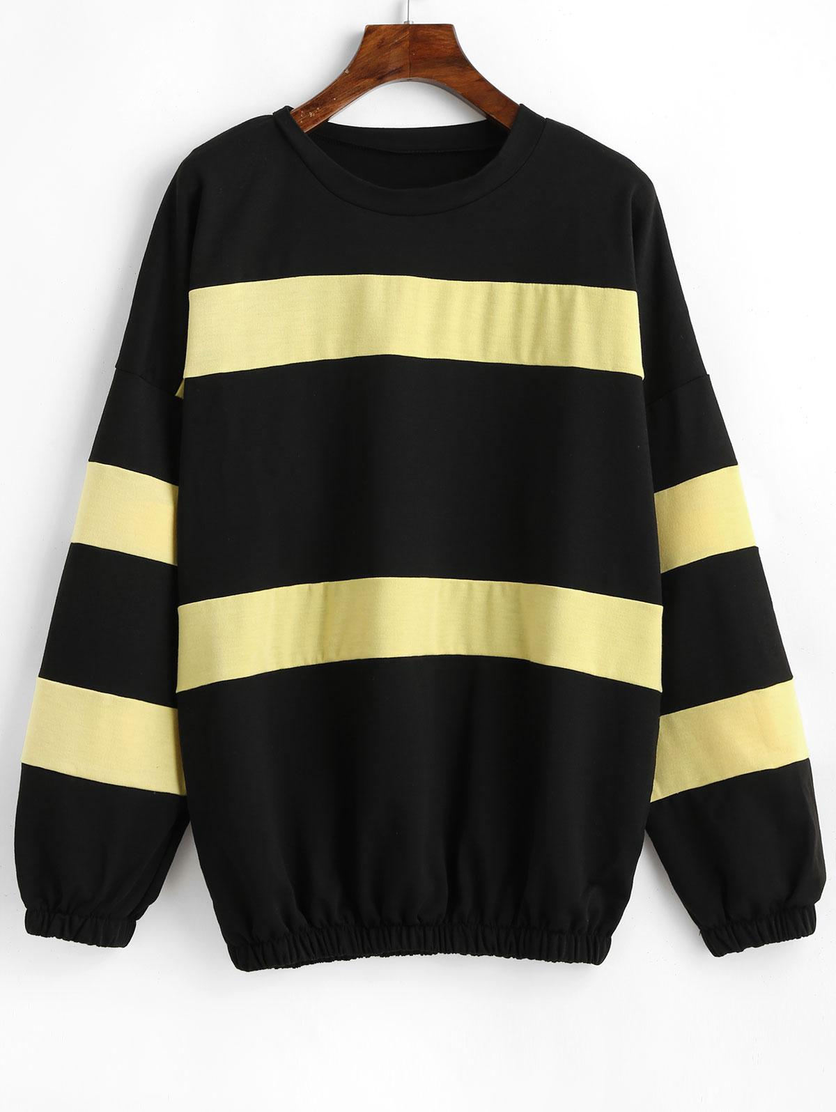 Drop Shoulder Color Block Pullover Sweatshirt