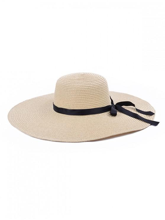 unique Bowknot Decorate Solid Straw Sun Floppy Hat - BEIGE