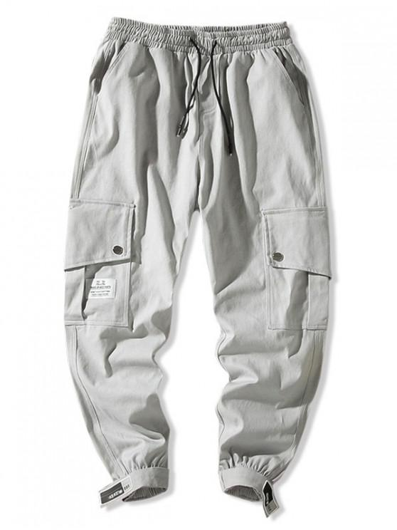 ladies Side Flap Pocket Solid Color Casual Jogger Pants - GRAY S