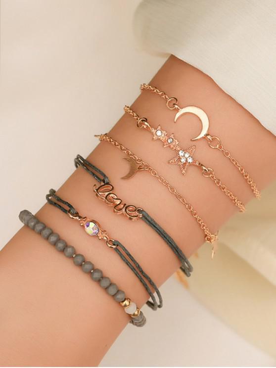 unique 6Pcs Moon Star Letter Beaded Bracelet Set - GOLD