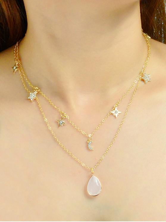 outfits Rhinestone Water Drop Star Layered Necklace - GOLD