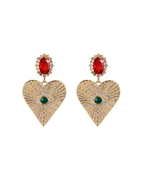 latest Faux Ruby Rhinestone Heart Earrings - RUBY RED