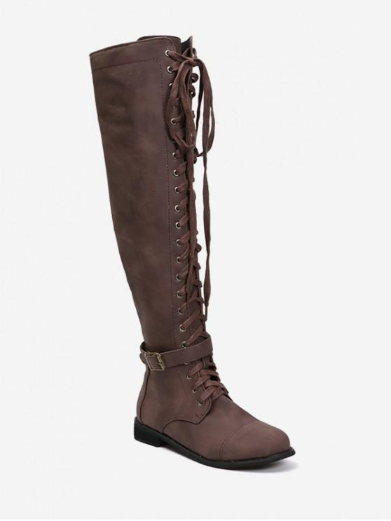 womens Low Heel Lace Up Over The Knee Boots - DEEP COFFEE EU 40