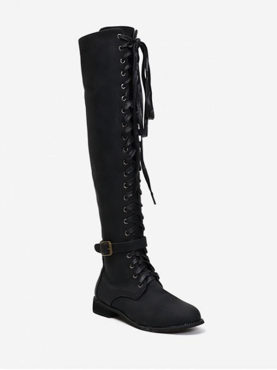 shops Low Heel Lace Up Over The Knee Boots - BLACK EU 35