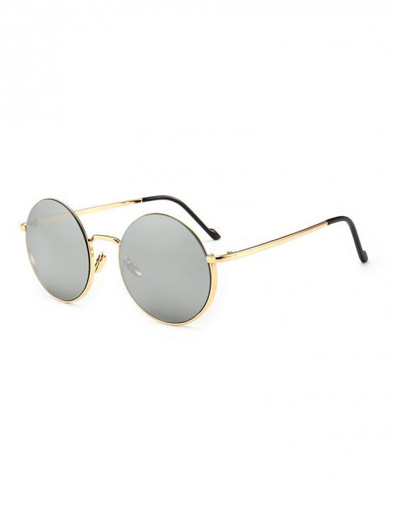 trendy Vintage Round Metal Anti UV Sunglasses - SILVER