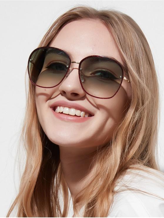 chic Oversized Glitter Metal Ombre Sunglasses - GRAYISH TURQUOISE