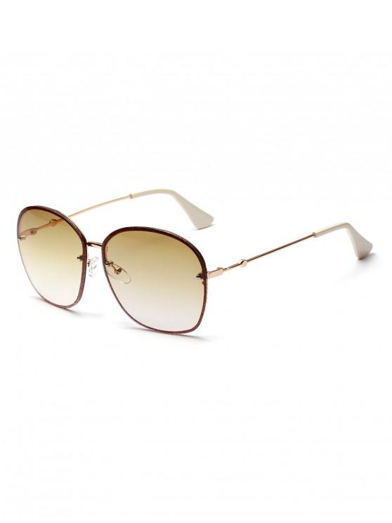 womens Oversized Glitter Metal Ombre Sunglasses - BEE YELLOW