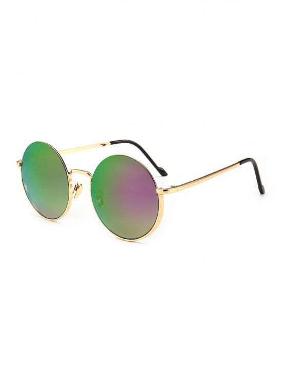 online Vintage Round Metal Anti UV Sunglasses - PURPLE